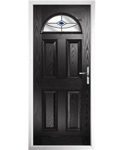 The Derby Composite Door in Black with Blue Fusion Ellipse
