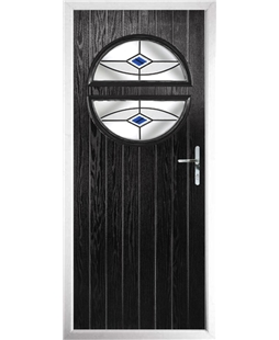 The Queensbury Composite Door in Black with Blue Fusion Ellipse