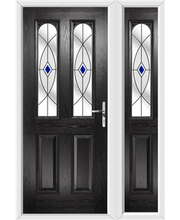 The Aberdeen Composite Door in Black with Blue Fusion Ellipse and matching Side Panel