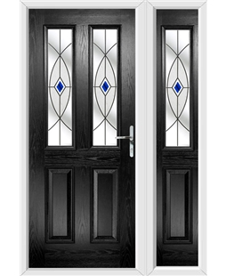 The Cardiff Composite Door in Black with Blue Fusion Ellipse and matching Side Panel