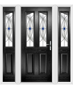 The Birmingham Composite Door in Black with Blue Fusion Ellipse and matching Side Panels