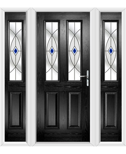 The Cardiff Composite Door in Black with Blue Fusion Ellipse and matching Side Panels