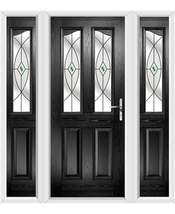 The Birmingham Composite Door in Black with Green Fusion Ellipse and matching Side Panels