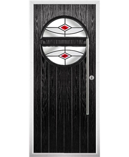 The Xenia Composite Door in Black with Red Fusion Ellipse
