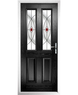 The Cardiff Composite Door in Black with Red Fusion Ellipse