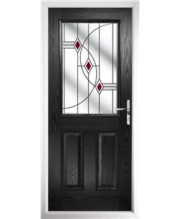 The Farnborough Composite Door in Black with Red Fusion Ellipse