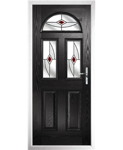 The Glasgow Composite Door in Black with Red Fusion Ellipse