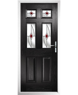 The Oxford Composite Door in Black with Red Fusion Ellipse