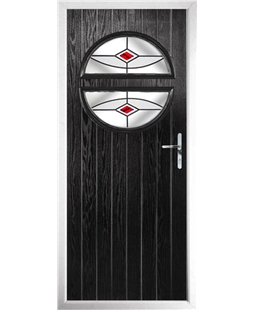 The Queensbury Composite Door in Black with Red Fusion Ellipse