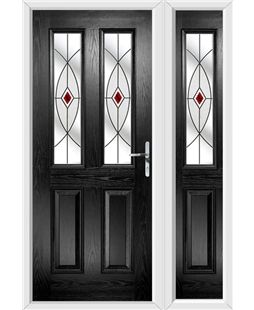 The Cardiff Composite Door in Black with Red Fusion Ellipse and matching Side Panel