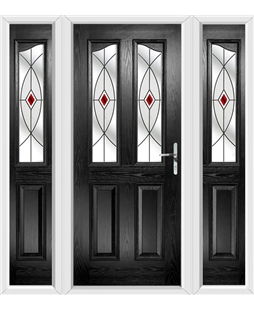 The Birmingham Composite Door in Black with Red Fusion Ellipse and matching Side Panels