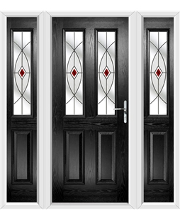 The Cardiff Composite Door in Black with Red Fusion Ellipse and matching Side Panels