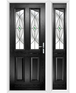The Birmingham Composite Door in Black with Green Fusion Ellipse and matching Side Panel