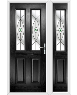 The Cardiff Composite Door in Black with Green Fusion Ellipse and matching Side Panel