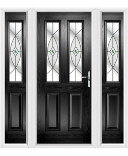 The Cardiff Composite Door in Black with Green Fusion Ellipse and matching Side Panels