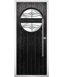 The Xenia Composite Door in Black with Green Fusion Ellipse