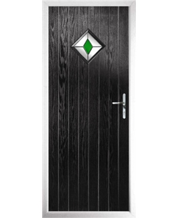 The Reading Composite Door in Black with Green Diamond