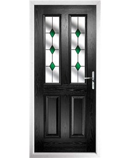 The Cardiff Composite Door in Black with Green Diamonds