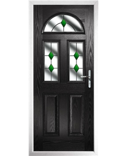 The Glasgow Composite Door in Black with Green Diamonds