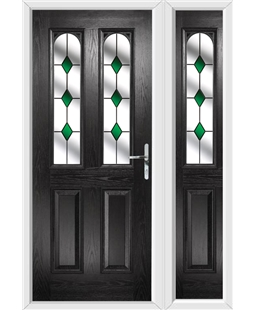 The Aberdeen Composite Door in Black with Green Diamonds and matching Side Panel