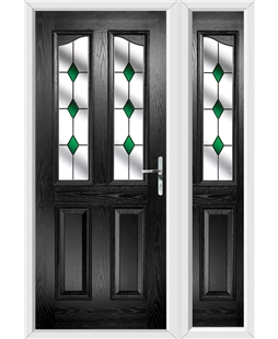 The Birmingham Composite Door in Black with Green Diamonds and matching Side Panel