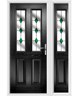 The Cardiff Composite Door in Black with Green Diamonds and matching Side Panel