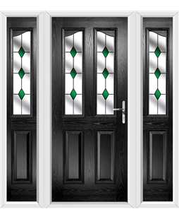 The Birmingham Composite Door in Black with Green Diamonds and matching Side Panels
