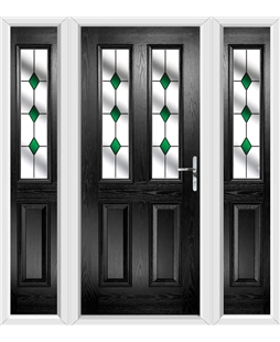The Cardiff Composite Door in Black with Green Diamonds and matching Side Panels