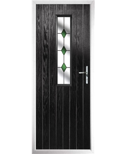 The Sheffield Composite Door in Black with Green Diamonds