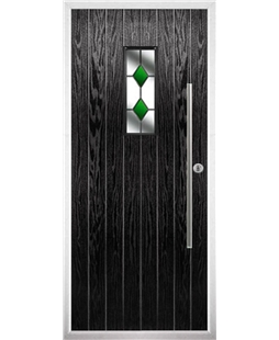 The Zetland Composite Door in Black with Green Diamonds