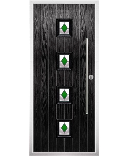 The Leicester Composite Door in Black with Green Diamonds