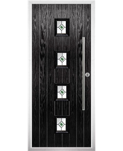 The Leicester Composite Door in Black with Green Fusion Ellipse