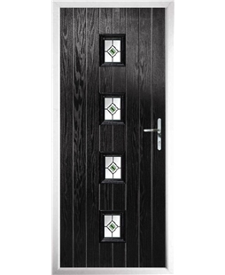 The Uttoxeter Composite Door in Black with Green Fusion Ellipse