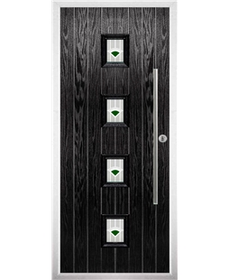 The Leicester Composite Door in Black with Green Murano