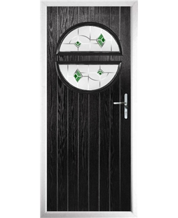 The Queensbury Composite Door in Black with Green Murano