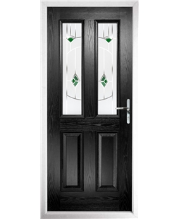 The Cardiff Composite Door in Black with Green Murano