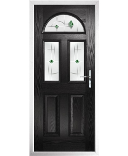 The Glasgow Composite Door in Black with Green Murano
