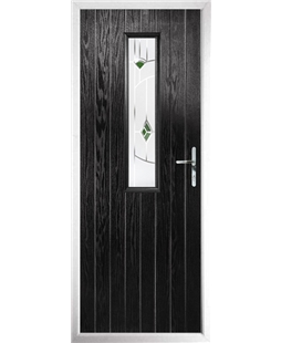 The Sheffield Composite Door in Black with Green Murano