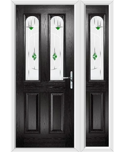 The Aberdeen Composite Door in Black with Green Murano and matching Side Panel