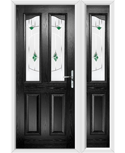 The Birmingham Composite Door in Black with Green Murano and matching Side Panel