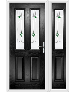 The Cardiff Composite Door in Black with Green Murano and matching Side Panel