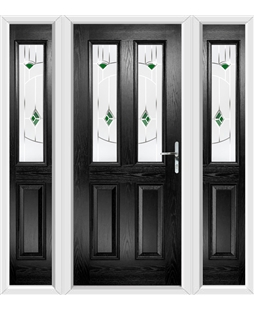 The Cardiff Composite Door in Black with Green Murano and matching Side Panels