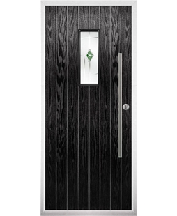 The Zetland Composite Door in Black with Green Murano