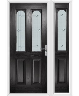 The Aberdeen Composite Door in Black with Jewel Glazing and Matching Side Panel
