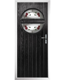 The Queensbury Composite Door in Black with Mackintosh Rose