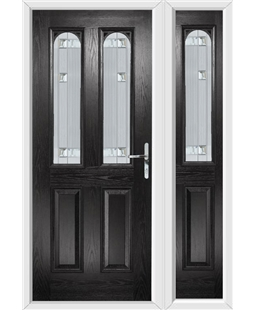 The Aberdeen Composite Door in Black with Milan Glazing and Matching Side Panel