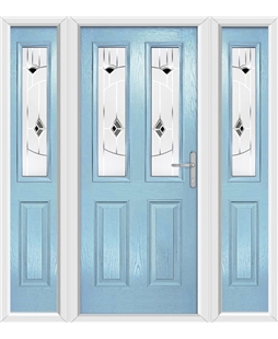 The Cardiff Composite Door in Blue (Duck Egg) with Black Murano and matching Side Panels