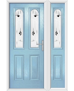The Aberdeen Composite Door in Blue (Duck Egg) with Black Murano and matching Side Panel