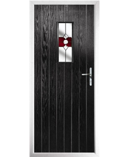 The Taunton Composite Door in Black with Red Crystal Bohemia