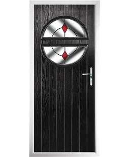 The Queensbury Composite Door in Black with Red Diamonds